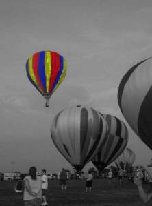 Grayscale image with color hot-air balloon