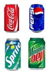 traditional Coke, Pepsi, Sprite, and Mountain Dew cans