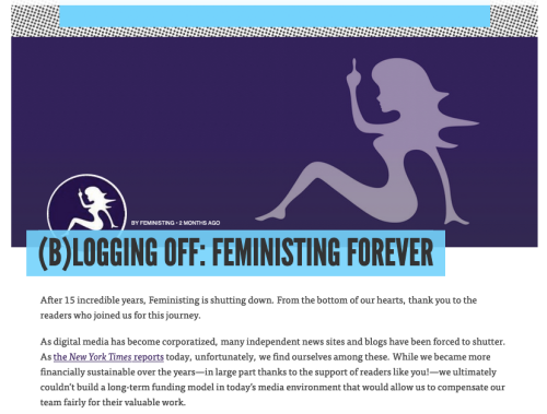 Screenshot showing Feministing's blog post about why they're shutting down